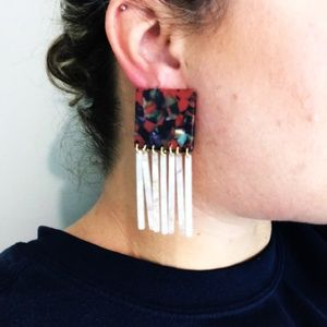CLOSET REHAB Jewelry - Square Berry Mix Earrings w/ White & Pink Fringe